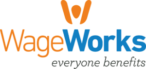 An orange figure raising their hands up above the word Wage in orange and Works in blue with the phrase everyone benefits underneath