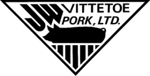 Large black triangle starting with seven black lines at the bottom, an illustrated pig in the middle, and the words JW Vittetoe Pork, Ltd. at the top