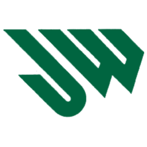 The letters J and W in dark green slanted to the left