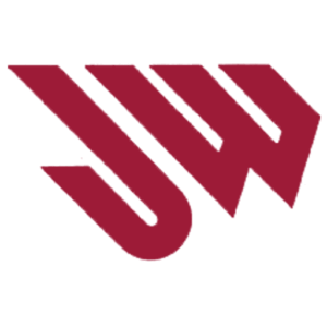 The letters JW in dark red slanted slightly to the left